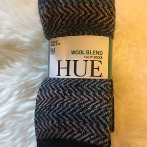 NWT Black Wool Blend Crew 4 Pairs Socks